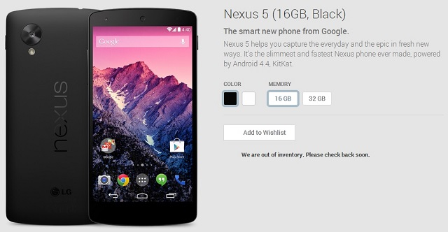 Google Nexus 5 16GB Out of stock