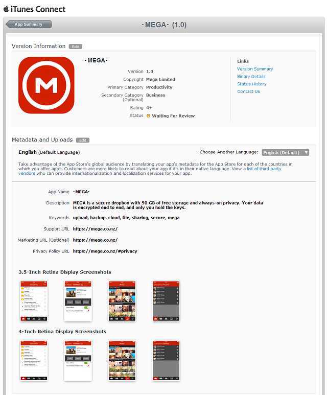 Mega iOS app submitted to Apple