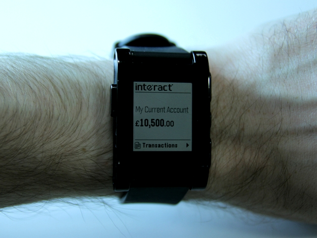 pebble smartwatch banking app