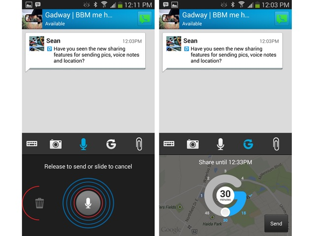 BBM for android iphone location sharing