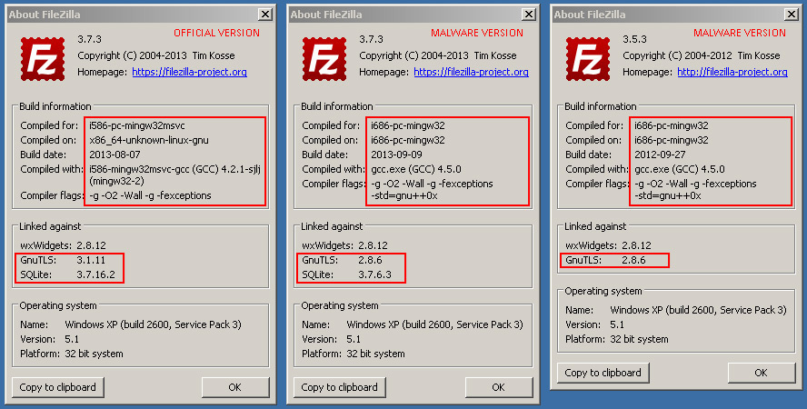 FileZilla tainted FTP client