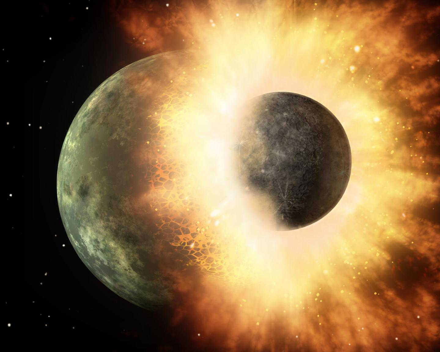 Artist rendering of planetary collision