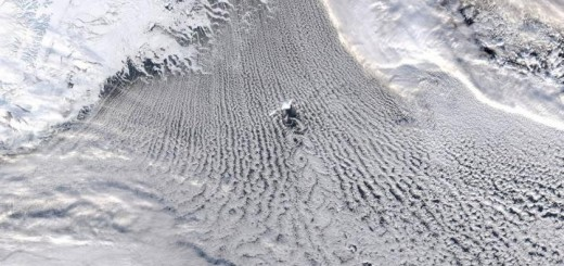 MODIS true-colour satellite image showing linear cloud patterns known as 'cloud streets' over the Greenland and Iceland Seas. These clouds are a signature of the transfer of heat and moisture that warms the atmosphere and cools the ocean resulting in a convective overturning of the water column, a process that plays an important role in the Atlantic Meridional Overturning Circulation. CREDIT Courtesy of GWK Moore