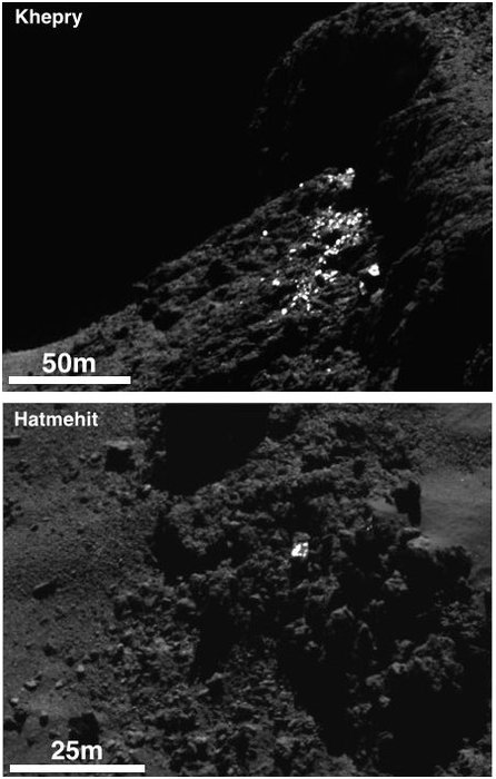 Example of a cluster of bright spots on Comet 67P/Churyumov-Gerasimenko found in the Khepry region (top) and an individual boulder with bright patches on its surface in the Hatmehit region (bottom). The bright patches are thought to be exposures of water-ice. In total, 120 bright areas like these were identified in images acquired during September 2014. Both images shown here are subsets of OSIRIS narrow-angle camera images taken on 30 September, when the spacecraft was about 20 km from the comet centre. CREDIT: ESA/Rosetta/MPS