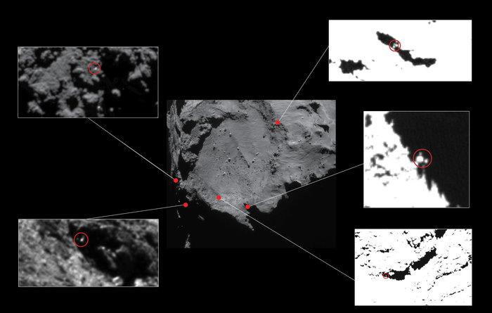 Credits: Centre image: ESA/Rosetta/NAVCAM – CC BY-SA IGO 3.0; insets: ESA/Rosetta/MPS for OSIRIS Team MPS/UPD/LAM/IAA/SSO/INTA/UPM/DASP/IDA