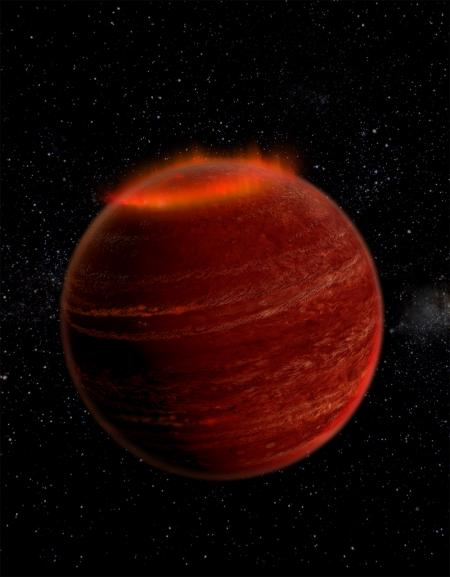 Artist's impression of an auroral display on a brown dwarf. Credit: Chuck Carter and Gregg Hallinan/Caltech