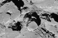 This close-up image shows the most active pit, known as Seth_01, observed on the surface of comet 67P/Churyumov-Gerasimenko by the Rosetta spacecraft. A new study suggests that this pit and others like it could be sinkholes, formed by a surface collapse process similar to the way these features form on Earth. Credit: Vincent et al., Nature Publishing Group