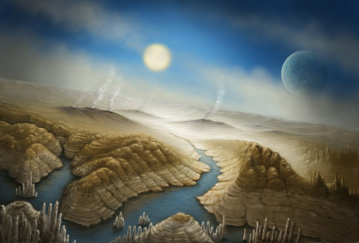 Artist impression of the surface of Kepler 452b. With a radius 60% larger than Earth, the planet has a better than even chance of having a rocky composition, and is likely to have a thick atmosphere and a significant amount of water. Because we can't yet measure the mass of Kepler 452b, astronomers rely on models to estimate a range of possible masses, with the most likely being 5 times that of Earth. Such a massive rocky planet would likely still have active volcanism. Kepler 452b is orbiting a close cousin of our Sun, but one that is 1.5 billion years older.  In the scenario depicted here, the planet is just entering a runaway greenhouse phase of its climate history.  The increasing energy from its aging sun could be evaporating any oceans, leaving behind large lakes ringed with mineral deposits. Kepler 452b could be giving us a preview of what the Earth will undergo more than a billion years from now, as the Sun ages and grows brighter. Credit: SETI Institute/Danielle Futselaar