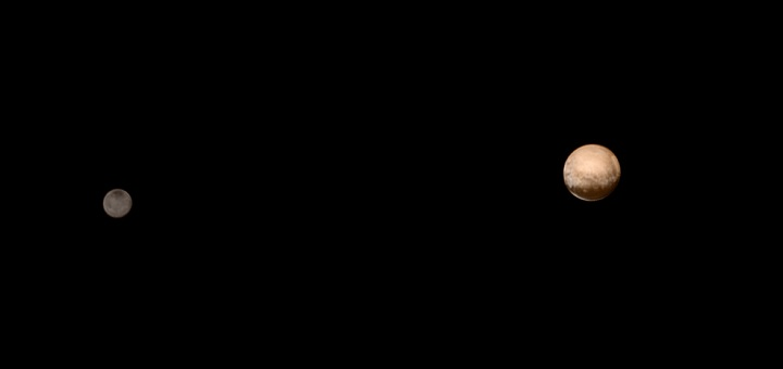 Image of Pluto and Charon from July 8, 2015; color information obtained earlier in the mission from the Ralph instrument has been added.