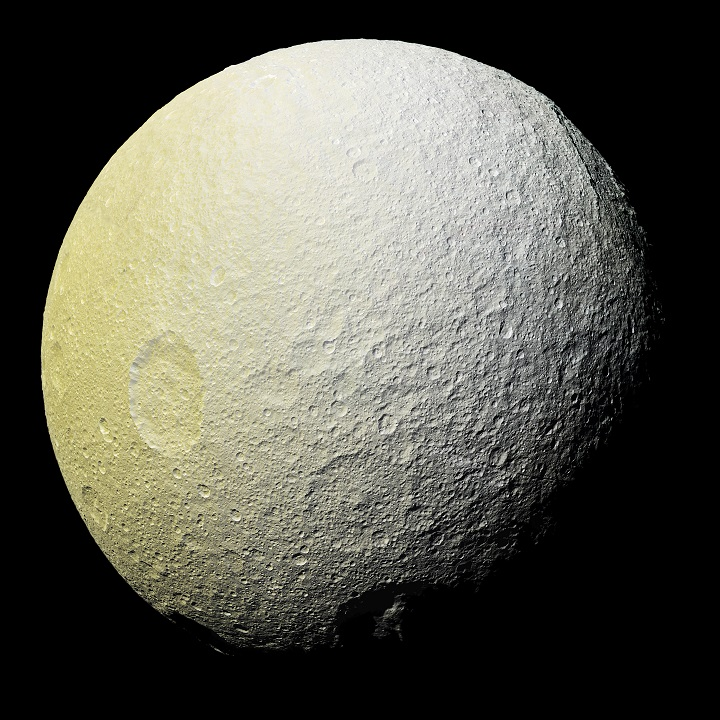 This enhanced-color mosaic of Tethys shows terrain slightly farther to the southwest than images taken a couple of hours earlier. A version with standard image processing is available, along with a strongly enhanced version. Credits: NASA/JPL-Caltech/Space Science Institute