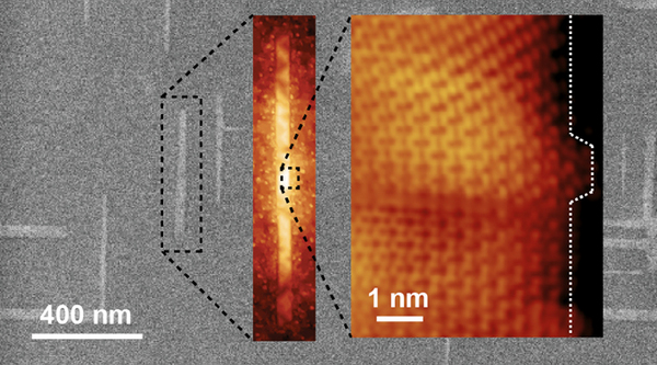 Progressively zoomed-in images of graphene nanoribbons grown on germanium. The ribbons automatically align perpendicularly and naturally grow in what is known as the armchair edge configuration. Credit: Arnold Research Group and Guisinger Research Group