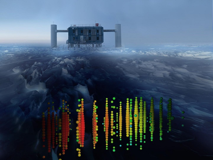 This is one of the highest-energy neutrino events from a survey of the northern sky superimposed on a view of the IceCube Lab at the South Pole. Credit: IceCube Collaboration