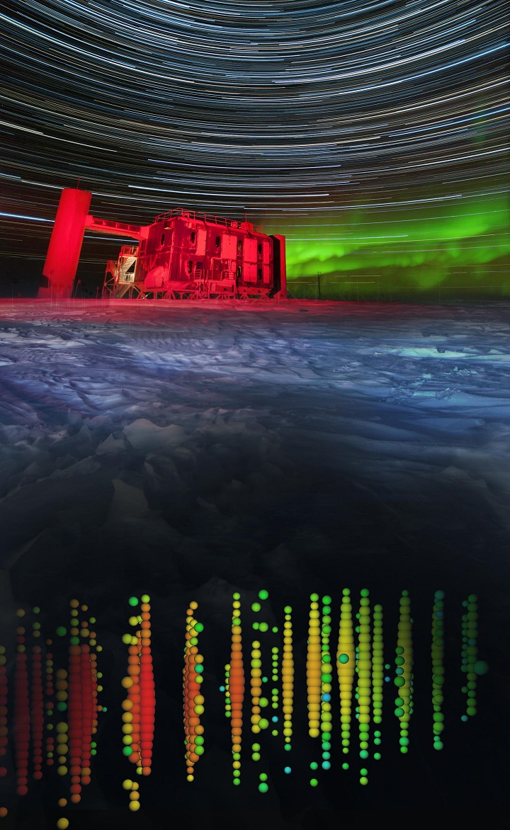 This is a a high-energy neutrino event of the northern sky superimposed on a view of the IceCube Lab at the South Pole. Credit: IceCube Collaboration