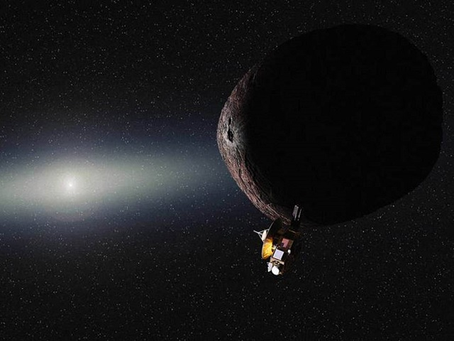 Artist's impression of NASA's New Horizons spacecraft encountering a Pluto-like object in the distant Kuiper Belt. Credits: NASA/JHUAPL/SwRI/Alex Parker