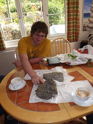 Sam Davies with the fossil foot