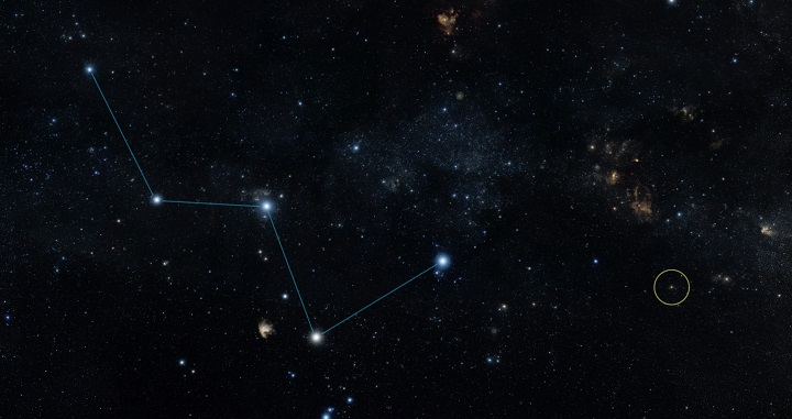 """This sky map shows the location of the star HD 219134 (circle), host to the nearest confirmed rocky planet found to date outside of our solar system. The star lies just off the """"W"""" shape of the constellation Cassiopeia and can be seen with the naked eye in dark skies. It actually has multiple planets, none of which are habitable. Credits: NASA/JPL-Caltech/DSS"""
