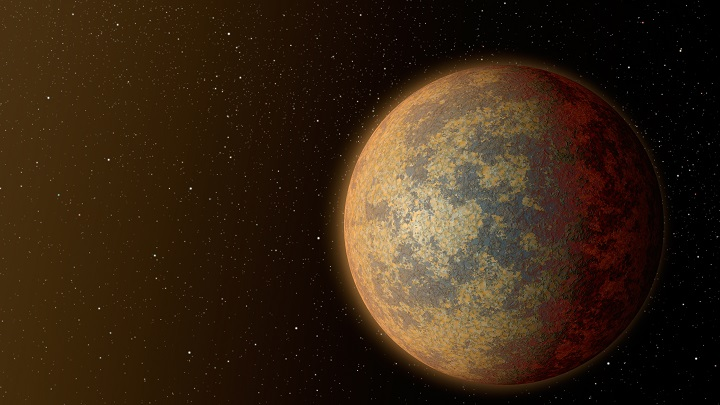 This artist's rendition shows one possible appearance for the planet HD 219134b, the nearest confirmed rocky exoplanet found to date outside our solar system. The planet is 1.6 times the size of Earth, and whips around its star in just three days. Scientists predict that the scorching-hot planet -- known to be rocky through measurements of its mass and size -- would have a rocky, partially molten surface with geological activity, including possibly volcanoes. Credits: NASA/JPL-Caltech