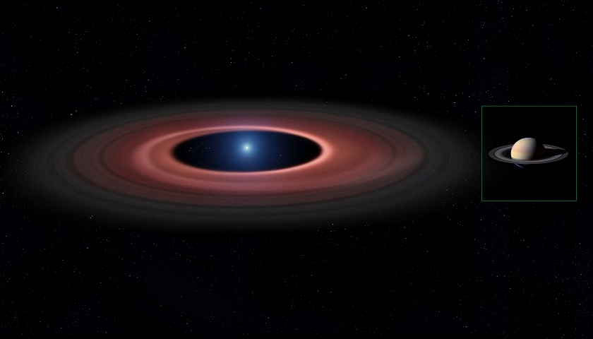 Astronomers have found a white dwarf star (SDSS 1228+1040) which appears to be surrounded by a truncated disc of gas and dust. The disc, which is around 10 times the diameter of the rings of Saturn, was probably created from asteroids or planets which strayed too close to the white dwarf and were torn apart by its gravity. Using Doppler tomography, the astronomers have found that the disc has a spiral component to it.